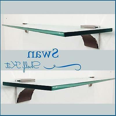 """Swan Floating Glass Shelf Kit - 3/8"""" Tempered Glass Shelf wi"""