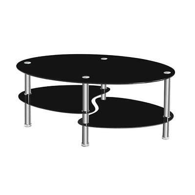 Tempered Clear/Black Glass Oval Side Coffee Table Shelf Chro