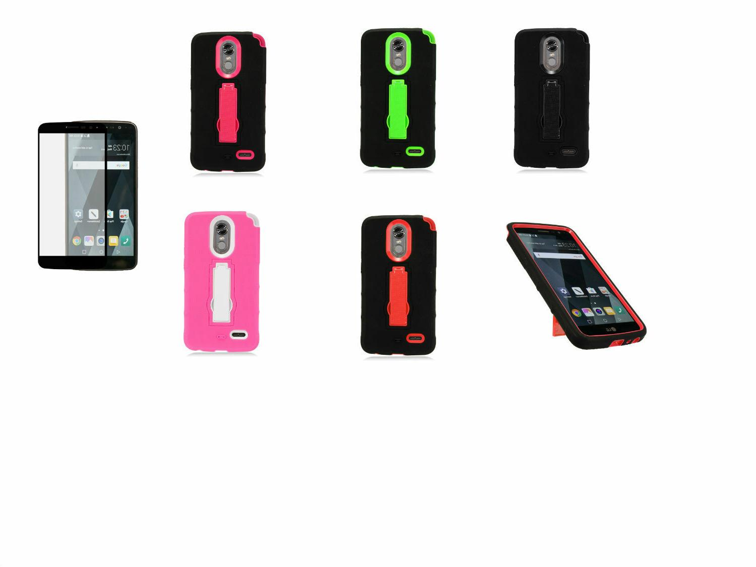 Tempered Glass+Armor Hybrid Stand Case Cover For LG Stylo 3