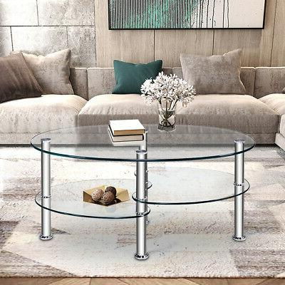 Coffee Chrome Base Living Room New