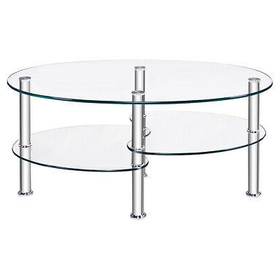 Tempered Glass Oval Side Coffee Table Chrome Base Living Room Clear New