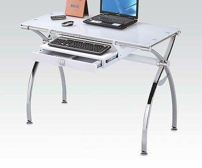 White Temper Glass Computer Desk by Acme Furniture