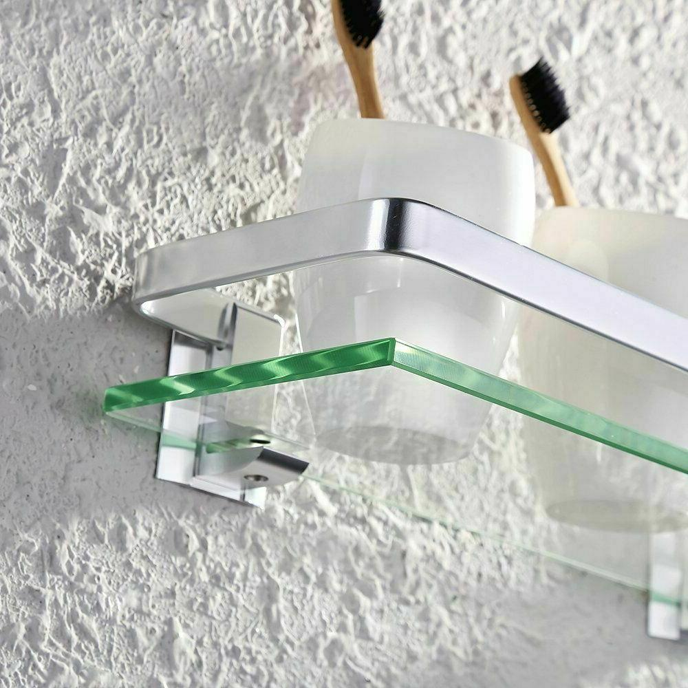 aluminum bathroom glass shelf tempered glass rectangular