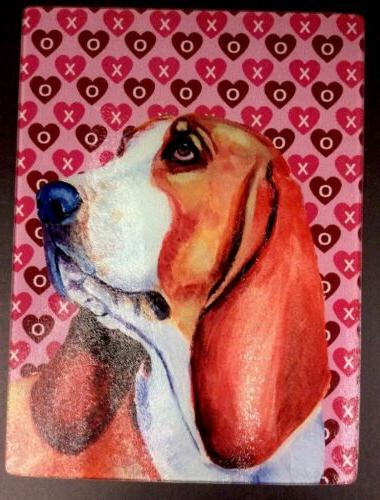 Basset Hound Hearts and Day Glass