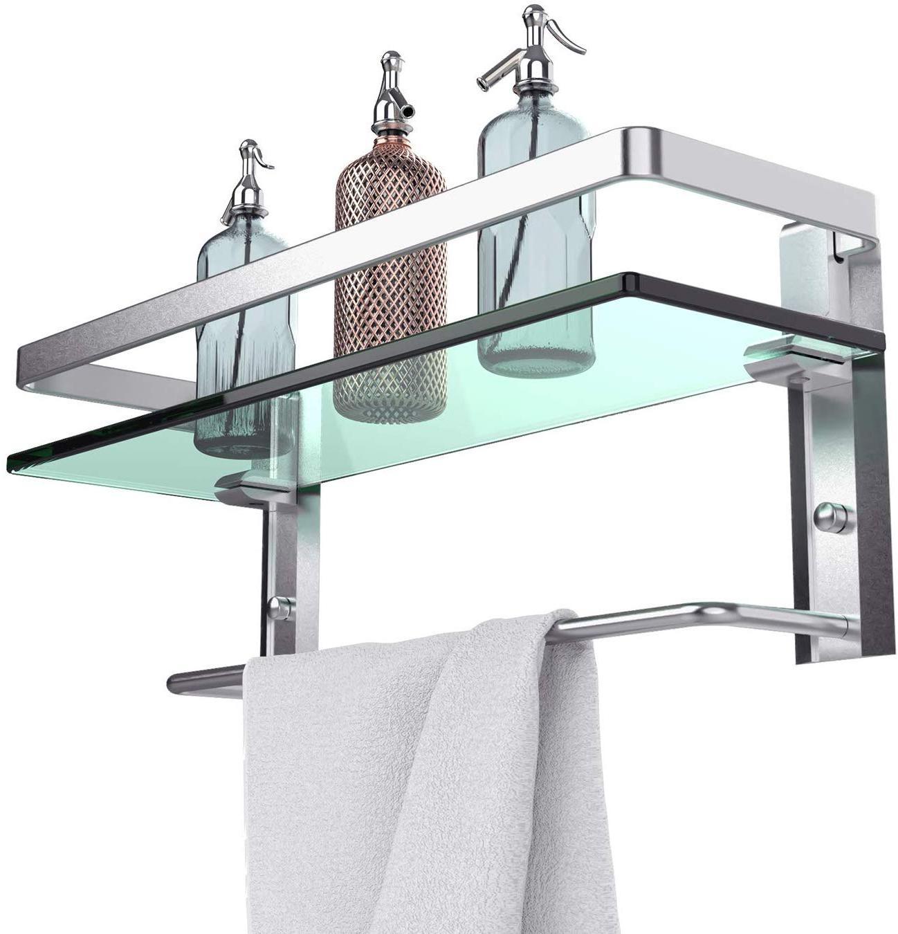 GeekDigg Bathroom Shelf, Tempered Glass Floating Shelves