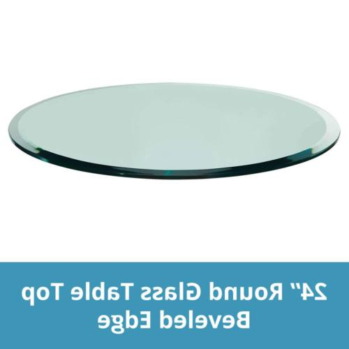 "TroySys Beveled Polished Tempered Glass Table Top, 24"" L Rou"