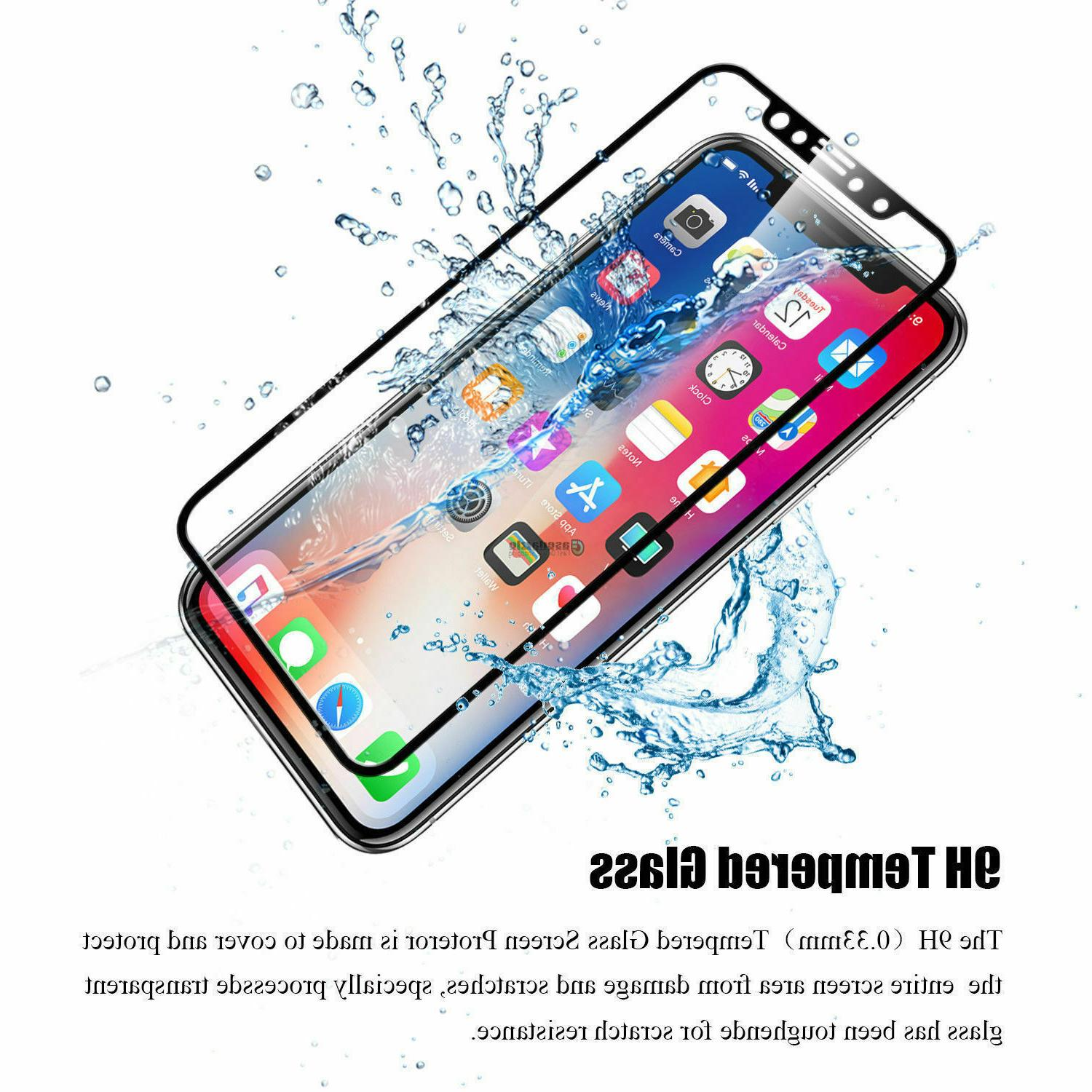 Black white Real Tempered Protector film for Apple iPhone X 8 7