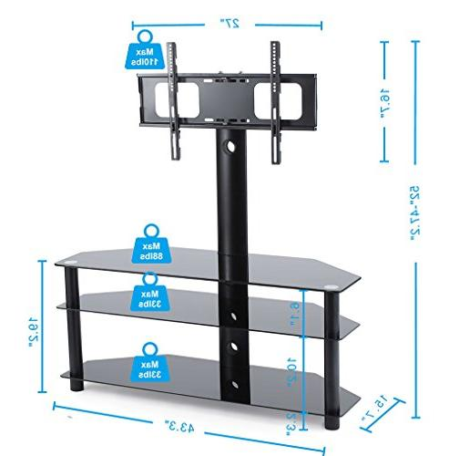 TAVR TV Mount 3-in-1 Entertainment Stand Tempered Glass Shelve,VESA up to 600mmx 32-60 inch Flat or TVs