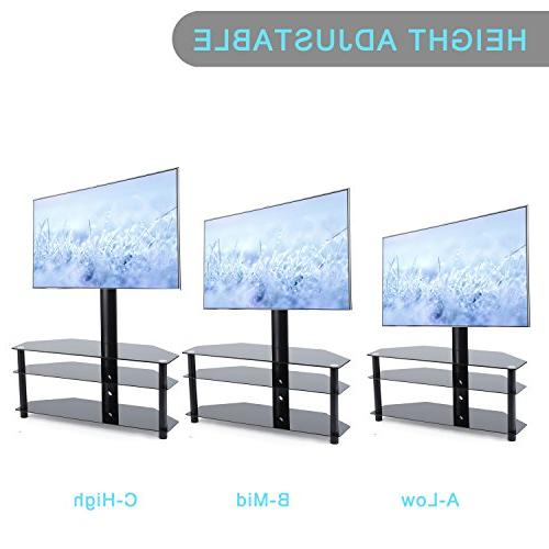 TAVR Stand Mount Entertainment Stand Glass Shelve,VESA 600mmx 400mm,for Most inch Plasma Flat or Curved TVs
