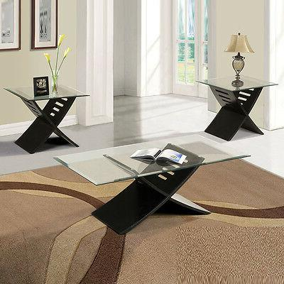Contemporary 3PC Coffee End Table Set Black 5mm Tempered Cle
