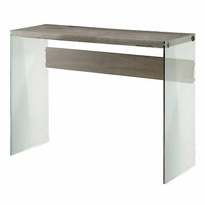 Monarch I 3055 Reclaimed-Look with Tempered Glass Sofa Table
