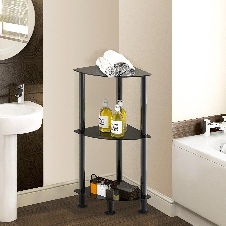 Corner Cabinet Bathroom Floor Stand Tempered Glass Storage S