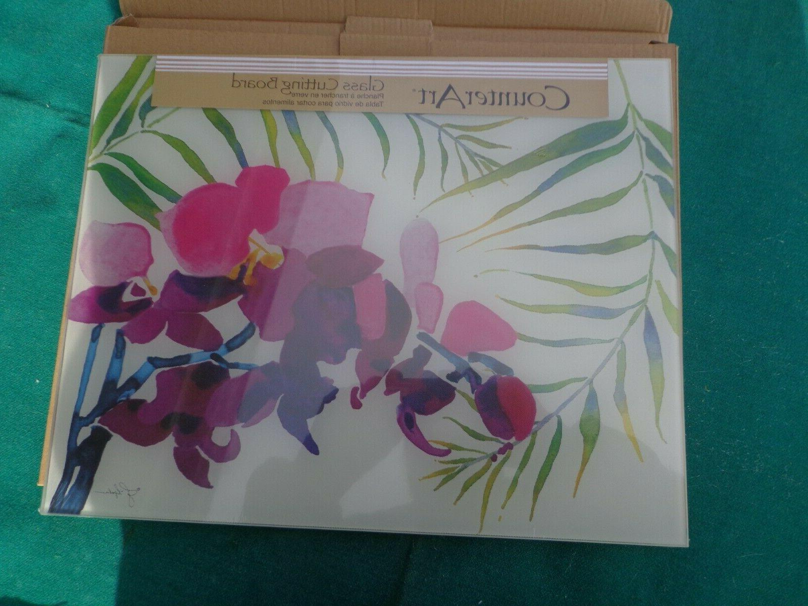 cutting board glass tempered kitchen orchid tropical
