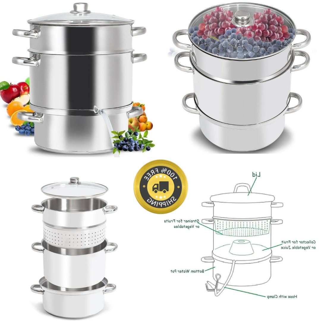 Deluxe Large Stainless Steel Steam Juicer Tempered Glass Lid