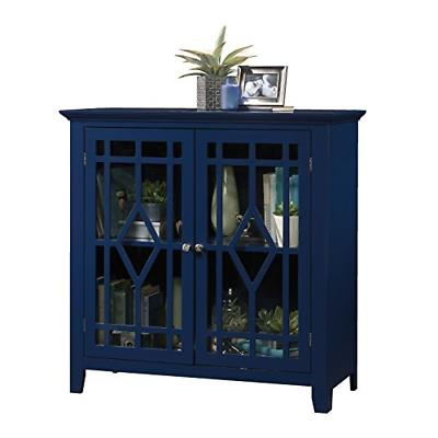 Display Cabinet Tempered Glass Doors Indigo Blue Finish 35.9