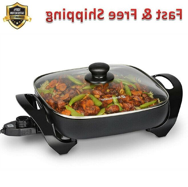 electric skillets 11 in black tempered glass