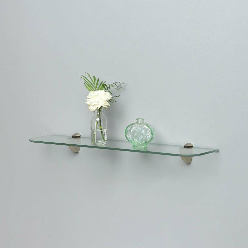 Bathroom Shelf Glass Satin Nickel Hardware Tempered Glass Wa