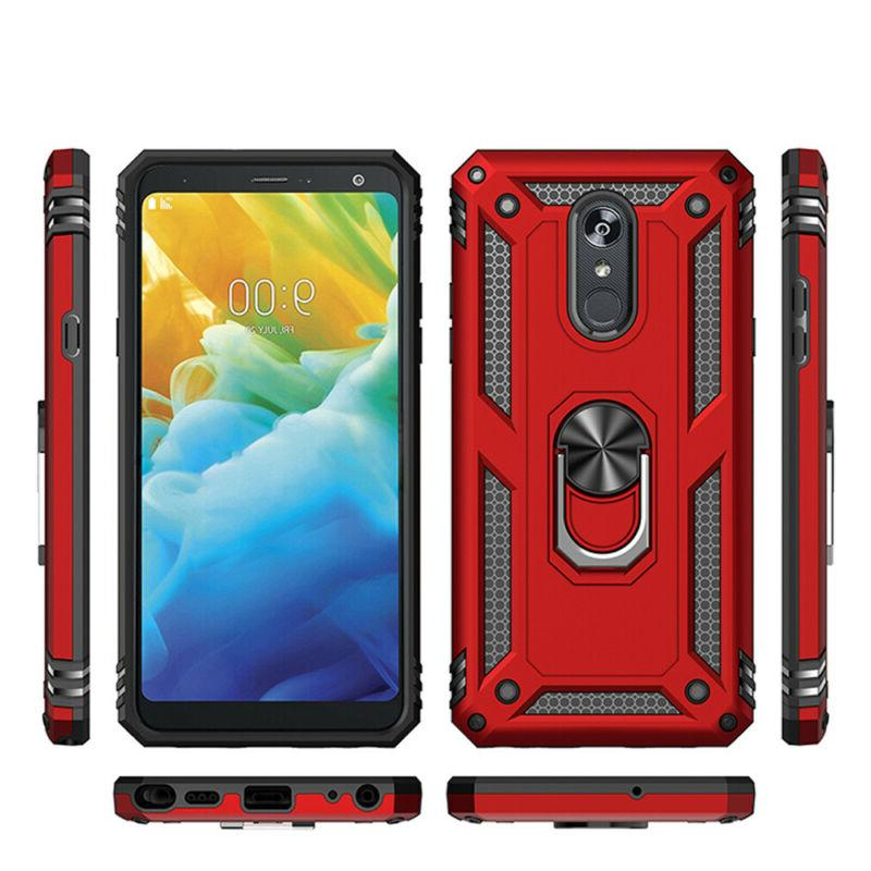 For LG Stylo Plus/5x/5v Stand Hard Case+Tempered