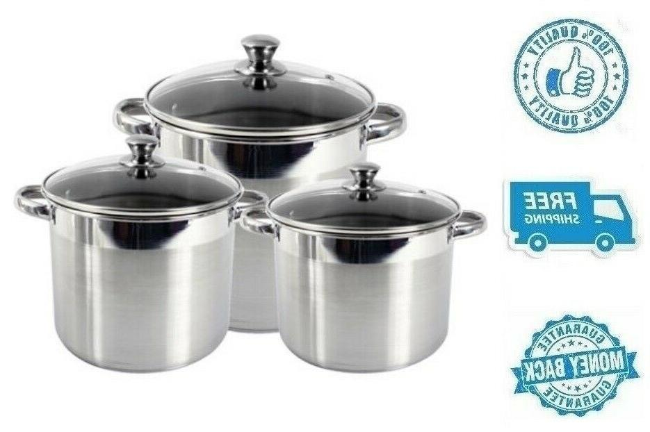 New 3pc Stainless Steel Stockpot Soup Pot Cookware With Temp