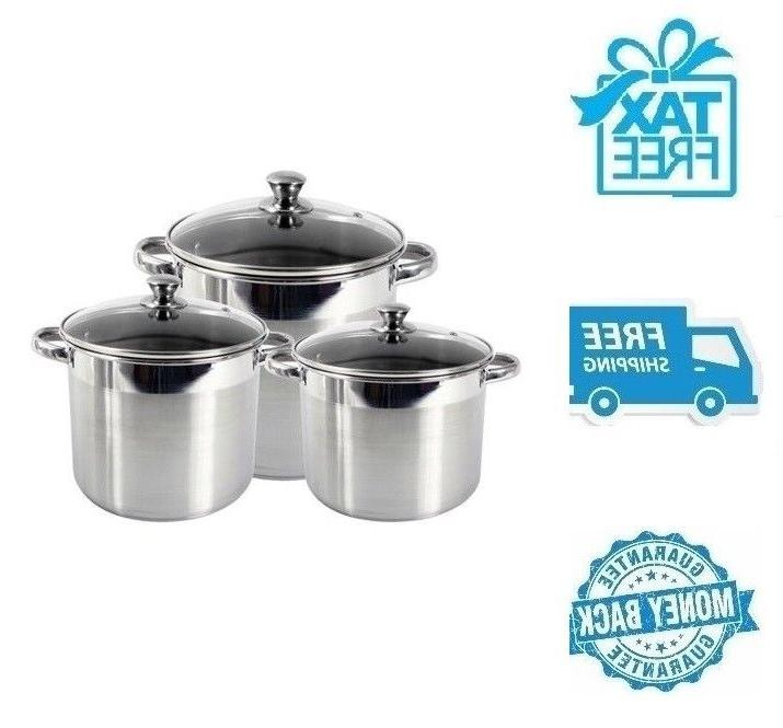 new 3pc stainless steel stockpot soup pot