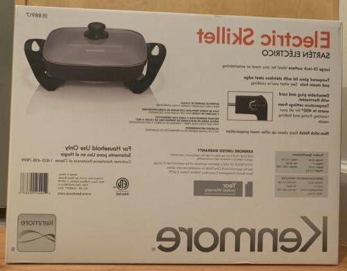 """New Kenmore Electric Skillet 12"""" x 12"""" Tempered Glass 88917"""
