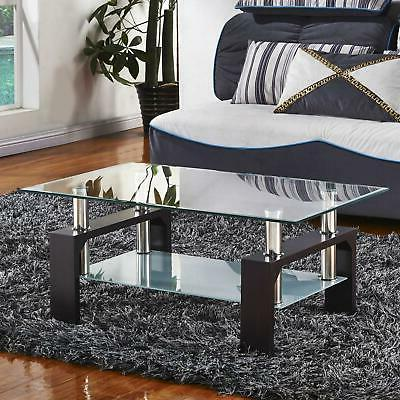 Popular Tempered Coffee Table w/Shelf Living Room