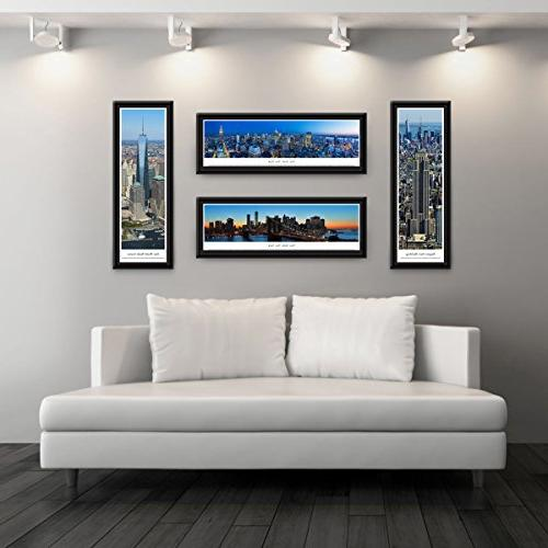 Blakeway Panoramas New York-Twin Towers Panoramas Posters with Select Frame,