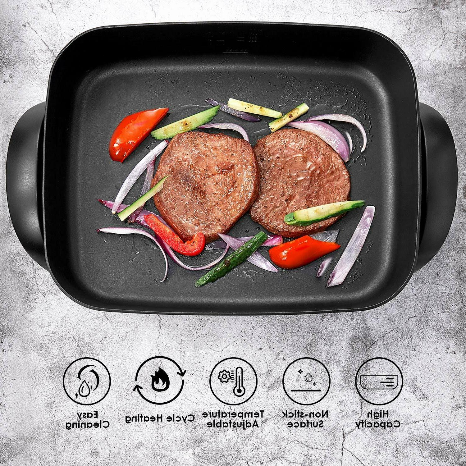Nonstick Electric Skillet Tempered Glass Vented 150~450℉