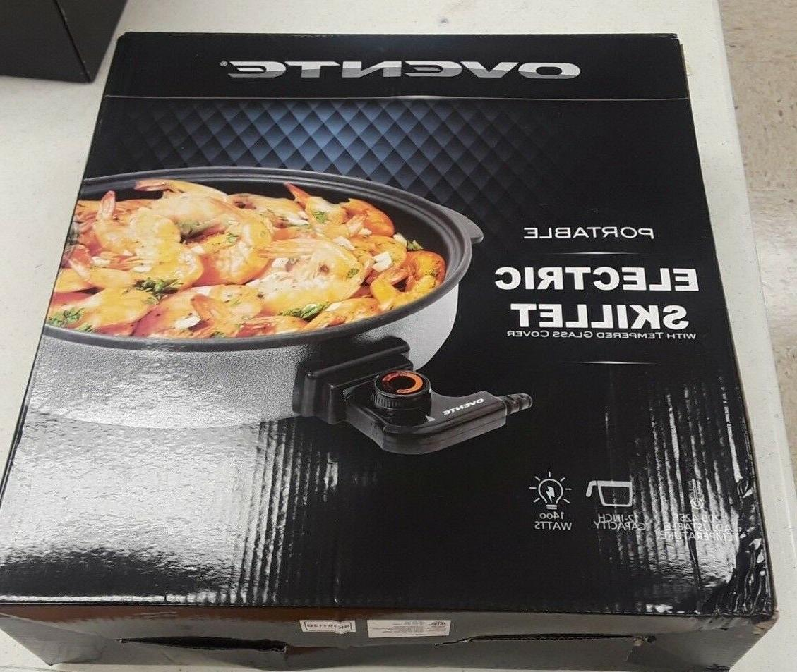 ovente portable electric skillet with tempered glass