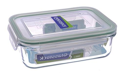 rectangular tempered glass food container