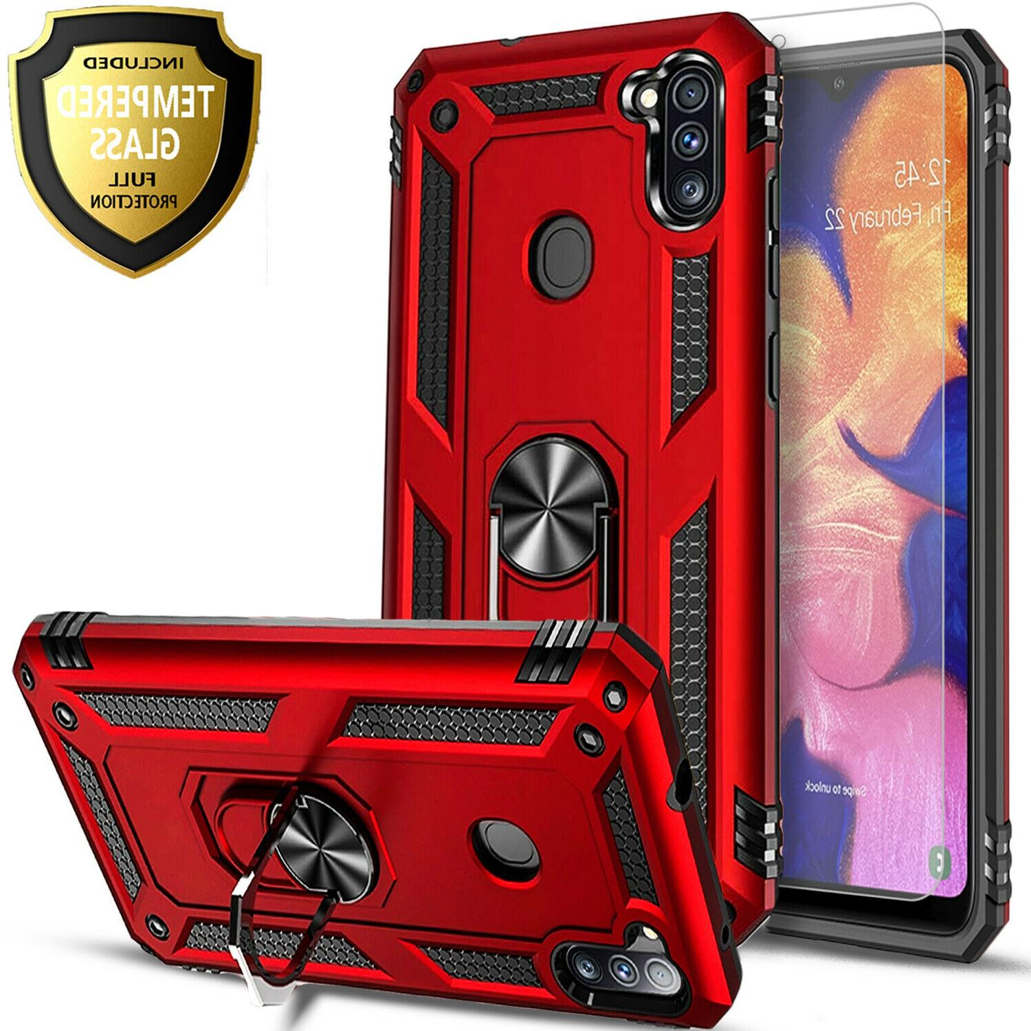 For Galaxy A11 Case, Ring Kickstand + Glass