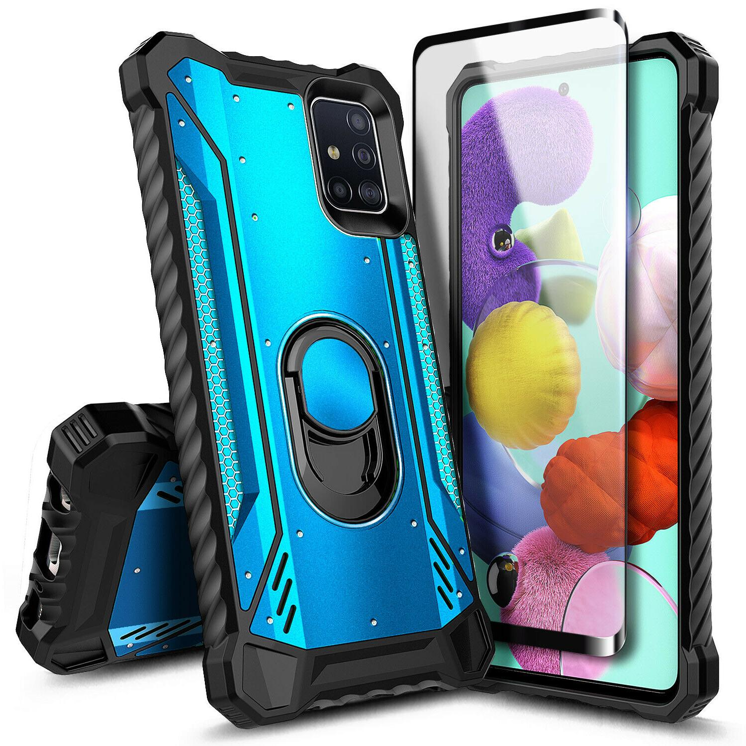 For Samsung Case Full Body Magnetic Ring Cover Tempered