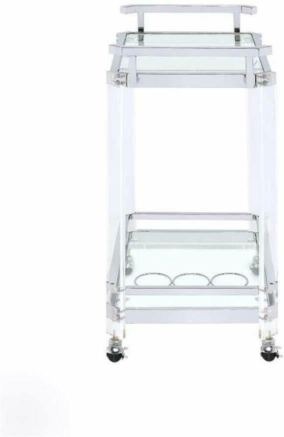 Serving Cart Chrome Clear 3-Wine Rack Acrylic