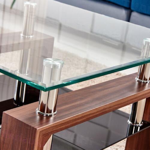 Square Coffee Tempered Glass Under Shelf Storage Living Room
