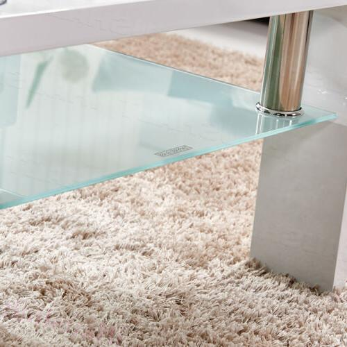 Square Table Glass Under Storage Living