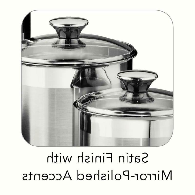 Stainless Steel Organizer Canister Glass
