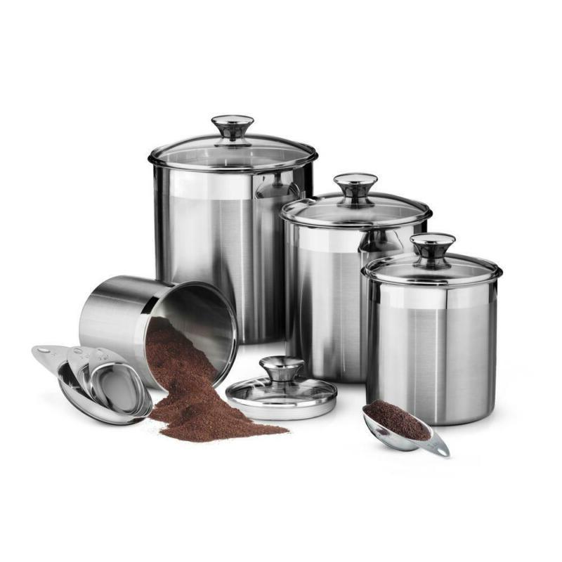 stainless steel kitchen storage organizer canister scoop