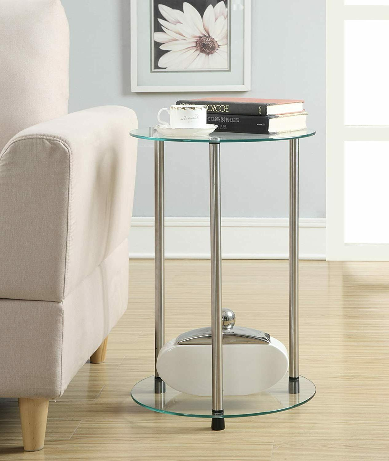 Tempered Glass 2 24 inch Table Steel Frame