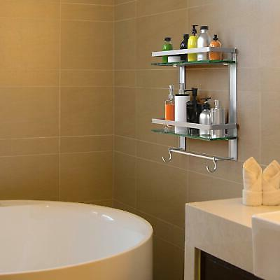 Vdomus Tempered Glass Shelf with Towel Mounted...