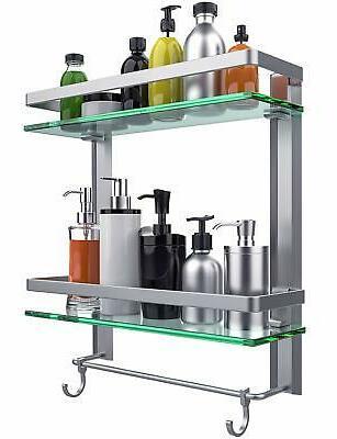 tempered glass bathroom shelf 2 tier shelf