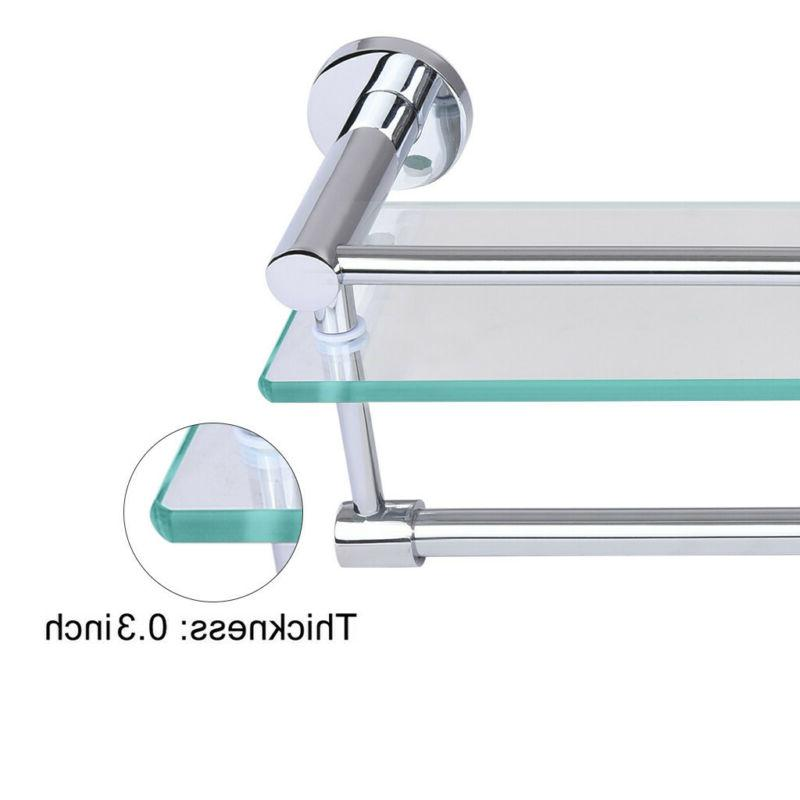 Tempered Glass Shelf With Towel Bar Wall Mounted Shower US