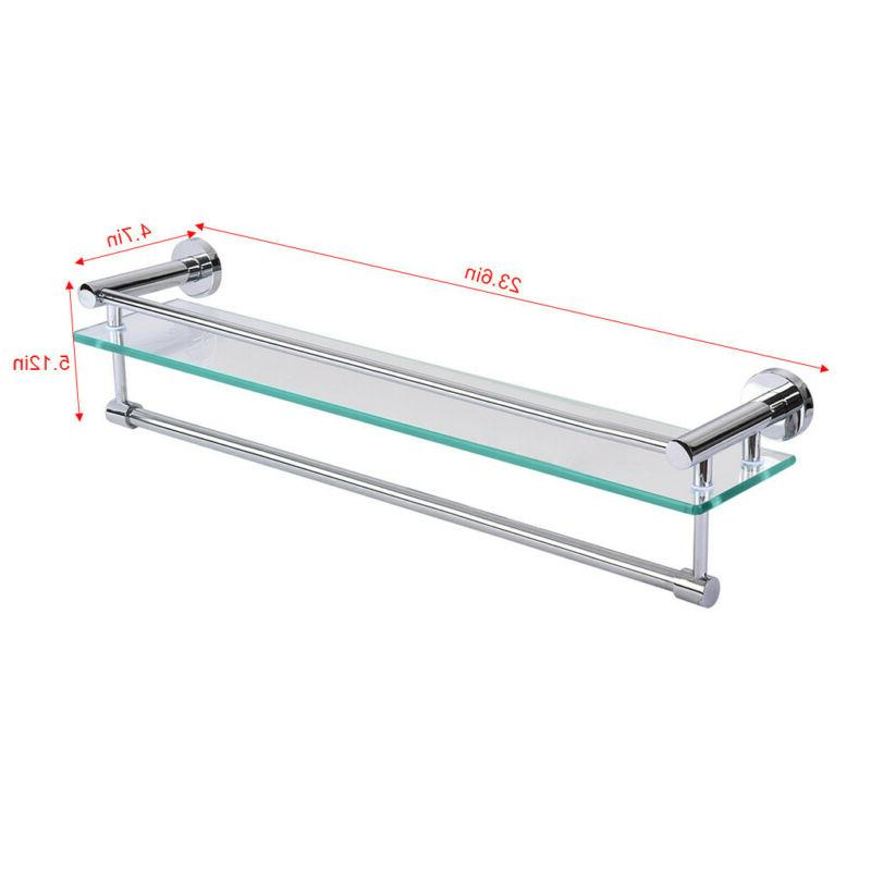 Tempered Glass Shelf With Bar Mounted Shower Storage