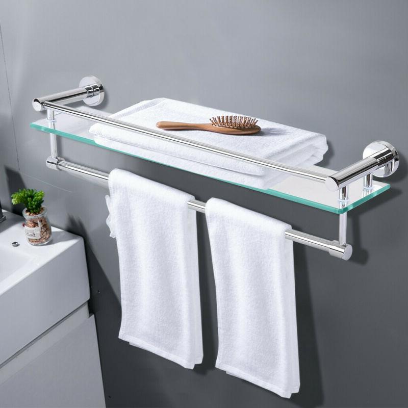 tempered glass bathroom shelf with towel bar