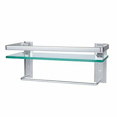 Tempered Glass Bathroom Shelf with Towel Bar Wall Mounted Sh