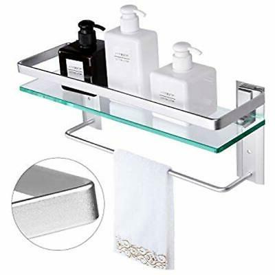 tempered glass bathroom shelves shelf towel bar