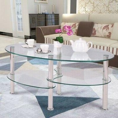 tempered glass oval side coffee table shelf