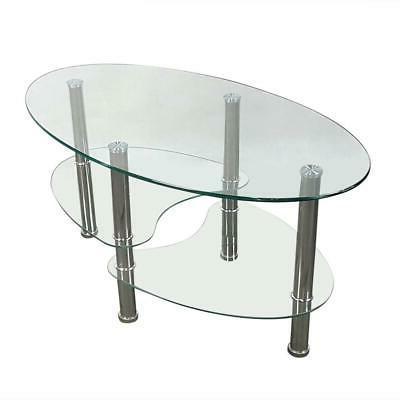 Tempered Oval Side Coffee Table Shelf Chrome Base Living New