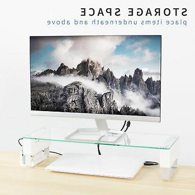 VIVO Tempered Glass Surface Smart Monitor Riser Stand with Ports