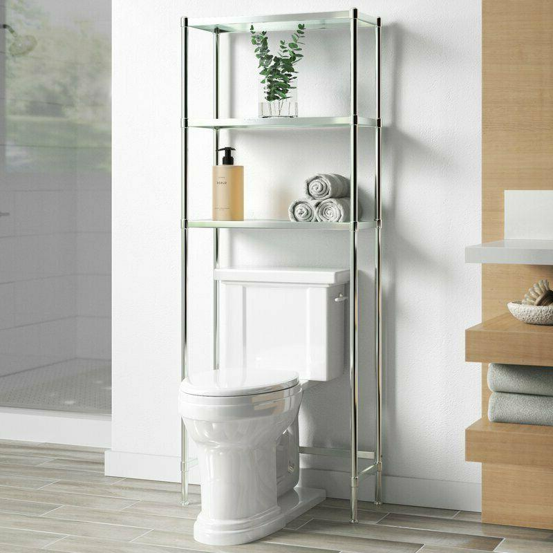 The Toilet Storage Crafted from Metal Three Tempered Glass S