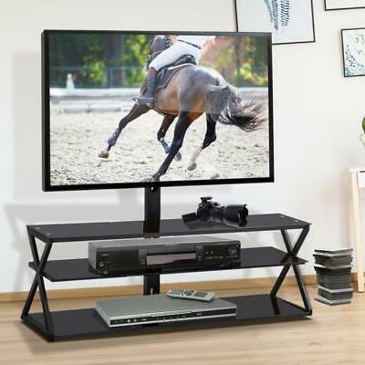 Multi-Function Floor TV Stand with Swivel Mount Glass Shelf